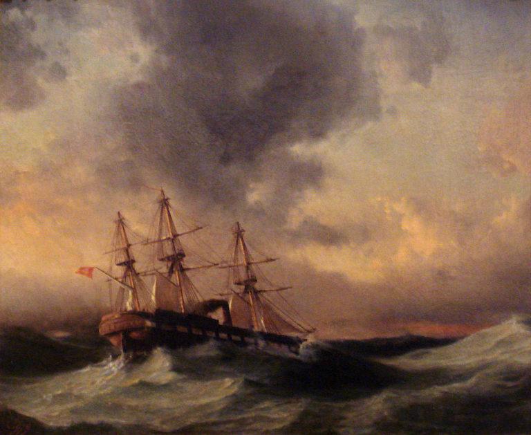 6-fregata-ertugrul-podczas-sztormu-obraz-osmana-nuri-fot-domena-publiczna